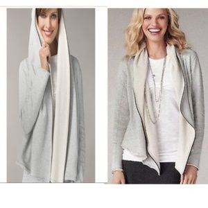 CAbi Gray Terry Shawl Hoodie M Style #534